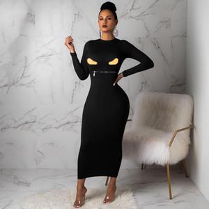 74F059 femmes D'une Seule Pièce Robe À Manches Longues D'Été Jupe Designer Maxi robe de haute qualité Lâche Robe Élégante De luxe Clubwear chaude