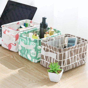 INS estilo flamingo Armazenamento desktop Basket Impressão bonito Waterproof Roupa interior Organizador Algodão Linho Diversos Caixa de armazenamento Gabinete saco de armazenamento