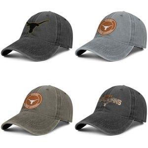 Texas Longhorns Core Logo fumée unisexe casquette de baseball de denim équipé mignon chapeaux style de football vintage noir Logo orange rond