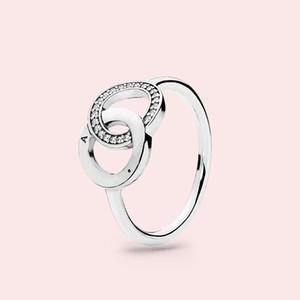 Orijinal kutusu ile belirlenen Pandora gerçek 925 Gümüş Nişan Düğün Hediye Yüzük için Güzel Kadın HALKA CZ elmas Yaz Takı