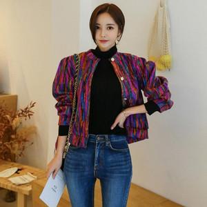 2019 otoño e invierno nueva versión coreana de la hembra de la chaqueta del color de la moda temperamento corto párrafo de un solo pecho