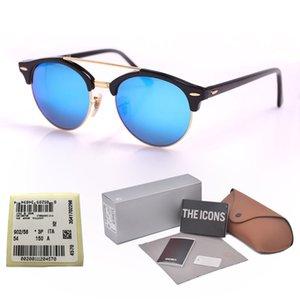 Gafas de sol de ojo de gato de alta calidad Hombres Mujeres lente de cristal Espejo Vintage Gafas de sol Diseñador de la marca De Sol Mujer Gafas de sol con caja al por menor