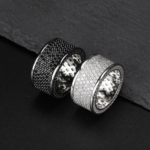 iced out Black zircon ring for men women luxury designer bling diamond flash ring gold silver copper zircon couple lover ring jewelry
