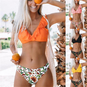 Floral Womens 2PCS Bikinis Summer Ruffle Sexy Womens Bathing Sets Holiday Beach Female Two Piecs Suits