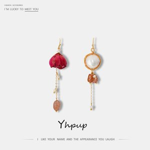 Yhpup Rose Flower Natural Stone Dangle Earrings Exquisite Romantic Elegant Christmas Gift Earrings for Women Party Jewelry New CJ191223