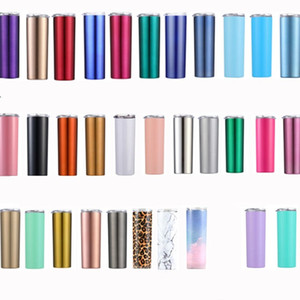 32 color 20oz 304 stainless steel straight cup body Skinny Tumbler with straw cold insulation cup outdoor car cup Drinkware 40pcs T2I51138-1