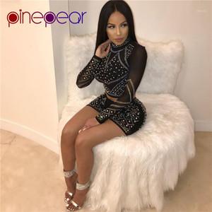 PinePear dolcevita Night Out Club Mesh Dress strass rifornisce di diamanti lungo del partito del manicotto Imposta sexy donna breve aderente Vestido1