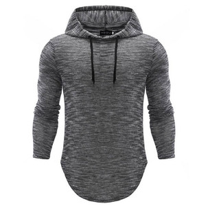 Più di formato uomini felpe con cappuccio della maglietta della molla di autunno sottile Pullover manica lunga camicia casual Hip Hop Slim Felpe Fitness Top