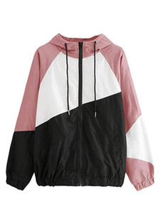 Women Patchwork Spring Windbreaker Jackets Hooded Rush Guard Summer Beach Casual Sports Jacket