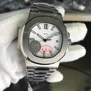 Hot Fábrica venda U1 Mens Watch Nautiluss Movimento gravado PP Branco Dial aço inoxidável mecânico automático fundo transparente Homens Relógios