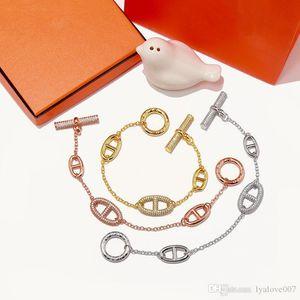 Luxury Designer Jewelry Women H Bracelets with crystal porcine snout love bracelet three colors fashion charm bracelets femle jewelry