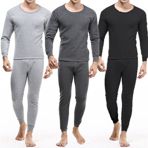 Männer Thick Inner Wear Thermal Long Johns Pyjama Set Winter warme Unterwäsche Hose Rundhalsausschnitt-Mann-Unterwäsche-Set Thermo-Unterwäsche