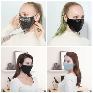 Macio respirável Boca respirador portátil Reutilização Sequins Mouth máscara máscaras Sports Adulto Unisex Rosto Protecção Primavera Inverno 6 5HY H1