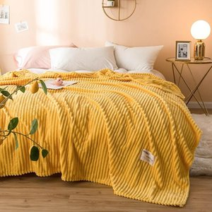 27 Winter Stripe Thicken Blanket Solid Color Soft Warm Coral Fleece Throw Flannel Sofa Bed Sheet Blankets