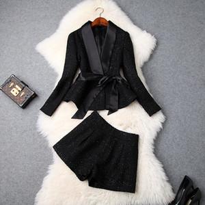 Avrupa ve Amerikan kadın 2018 kış giyim yeni Uzun kollu Bir papyon ceket + Şort moda Tüvit suit