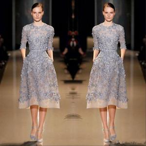Modernas lila La mitad de vestidos de baile 2020 de la manga de longitud de té apliques de encaje joya cuello corto Prom Vestidos