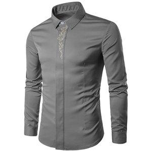 Açık Yürüyüş Gömlek Erkekler Gömlek Katı Nakış Erkek Yürüyüş Gömlek Uzun Kollu Adam Bluz Dropshipping 0907