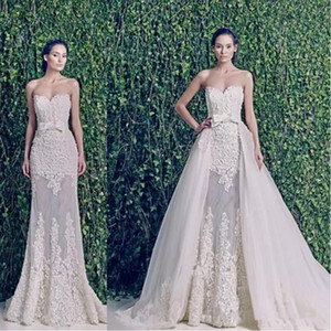 New Zuhair Murad vestidos de noiva Modest com trem destacável sobre saias Querida Backless Applique Lace Vintage Plus Size vestidos de noiva