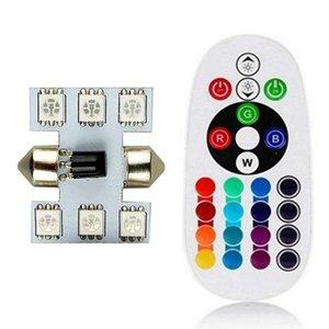 원격 컨트롤러와 2 개 31mm 36mm 39mm 42mm LED 꽃줄 돔 RGB 흰색 차량 실내 읽기 전구 램프