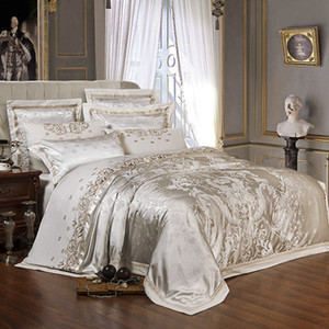 Bordado de ouro de luxo seda cetim Jacquard Edredão Roupa de cama conjunto rainha king size bordado cama set Lençol / Conjunto de folhas ajustadas T200110