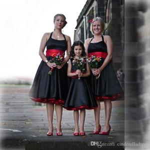 Vintage nero e rosso gotiche Abiti da sposa in raso con Sash senza maniche Backless elegante ginocchio lunghezza Junior Bridesmaid Dress