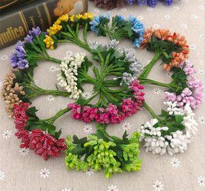 12 стеблей искусственного цветка тычинка проволока стебель / брак листья тычинка DIY венок свадебный ящик украшения