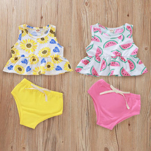 Newborn Baby Girls Clothes Set Infantil Ruffle Baby Kleding Summer Sunflower Watermelon Print Vest Tops Bow Solid Shorts Outfits