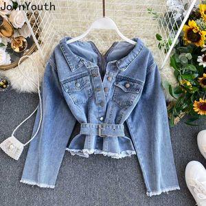 Joinyouth الملابس النسائية الكورية الصلبة القمم العادية الزنانير كاملة زر جان سترة 2020 جديد أزياء ربيع اخفض الياقة 533