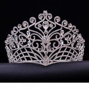 2017 New Big European Bride Crowns Silver Plated Austrian Crystal Large Queen Tiara Wedding Hair Accessories T-002 C18112001
