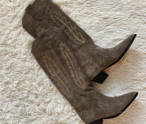 2020 Paris Francia Isabel Shoes Denzy Suede Cowboy Boots Stivali in stile Marant Stitching in pelle di vitello in pelle di vitello