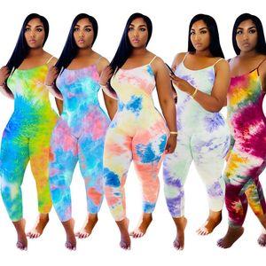여성 점프 슈트 타이 염색 Desinger 그라데이션 조끼 여름 플러스 사이즈 3XL 패션 장난 꾸러기 섹시한 민소매 스키니 바디 슈트 캐주얼 레깅스