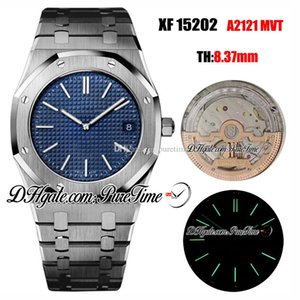 XF 39mm Extra-Thin 15202 A2121 Automatic Mens Watch Blue Texture Dial Stick Markers Stainless Steel Bracelet Best Edition New Puretime