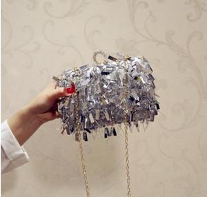 Sacos de embreagem de diamante de borla Mulheres bolsa senhoras branco mão sacos de noite sacos para festa casamento prata bolsa de ombro com corrente de ouro