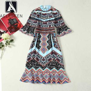AELESEEN старинные этнические женщины платье весна лето Flare рукавом высокое качество дизайнер цветочный принт партии миди Trumpat платье