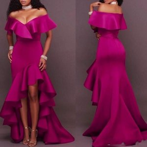 2020 Mermaid Evening Dresses Hi Low Fuchsia Elegant Evening Gowns Sexy Off Shoulder Ruffles Robe De Soiree Custom Made