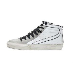 Superstar Mediados estrella Hight-top calzado botas de cuero genuino de los hombres y las mujeres blanca clásica retro Do-viejos zapatos casuales sucio deporte