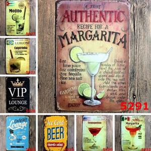 Bar Painting Mojito Cuba Cocktail Vintage Tin Signs Retro Metal Iron Plate Painting Wall Decoration for Bar Cafe Home Club Pub Beer Crafts