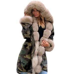 Designer femmes Manteaux pour la mode Automne et Hiver Nouveau Slim chaud camouflage Veste longue col de fourrure manteau à capuchon 4 couleurs de-2XL