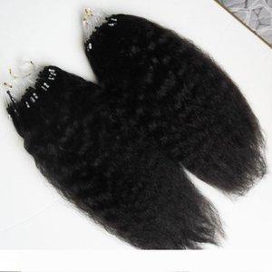 Грубый яки Micro Loop человеческих волос 200g бразильский курчавый прямой волос девственницы Яки Micro Loop Nano Ring Extensions волос