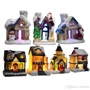 Noel LED Reçine Glow Ev Oyuncak Noel Ev Dekorasyon Glow El Sanatları Fantezi Avrupa Snow View House Çocuk Hediyeleri