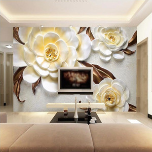 Custom Mural Wallpaper Non-woven 3D Stereoscopic Relief Yellow Flower Bedroom Living Room Sofa TV Background Papel De Parede