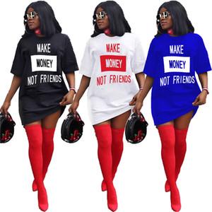 الصيف المرأة التي شيرت اللباس الصلبة لون مصمم خطابات الطباعة الفاخرة فضفاض فساتين البسيطة الرياضة قصيرة الأكمام حزب اللباس نادي ارتداء D6504