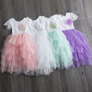 Kids Clothes Girls Multi-layer Mesh Dress Children Lace Flowers Cupcake Princess Dresses 2020 Summer Boutique Baby Clothing M2058
