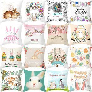 Happy Easter Kissenbezug Dekokissen Covers Dekorative Kissen- Frohe Ostern Kaninchen Eier Bauernhof Linen Dekorative Werfen Pillowcase