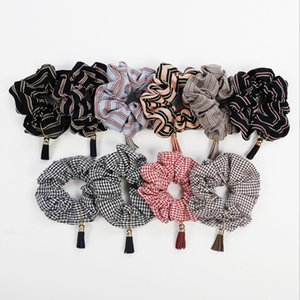 Designer Hair Striped Scrunchies Haarbänder elastische Tassel-Haar-Ring Krawatten Frauen-Mädchen-Pferdeschwanz-Halter-Haar-Zusätze 10 Farben DW4589