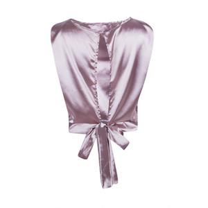 Vogue женщины атласная спинка бантом зашнуровать блузки без рукавов короткая блузка новая женская верхняя мода блузка топы femme chic