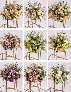 İpek Çiçek Topu Çiçek DIY Yol Craft Çiçek 9 Renk Kurşun Malzemeleri Düğün Centrepiece Ev Odası Dekorasyon Parti için Raf