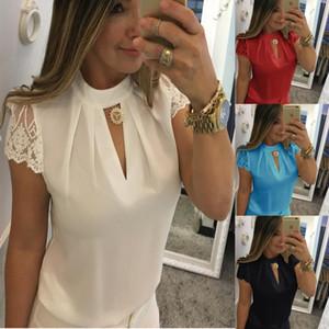 Thirts V Yaka gömleklerinin S-5XL t Yeni Sıcak satış Moda Kadınlar Gömlek Mürettebat Boyun Dantel Kısa Kollu Bluz Bayan tasarımcı Bluzlar şifon