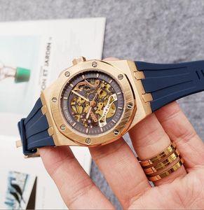 Hot Sale luxury mens silicone automatic mechanical movement watches Sapphire glass 5 ATM waterproof Rubber Watchband Super Cutout Watch U1