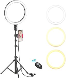 """Remote 10"""" Ring Light with Tripod Stand Desk Dimmable Selfie Ring Light LED Camera Ringlight with Phone Holder for Live Stream Makeup Video"""